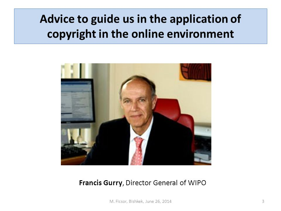 Advice to guide us in the application of copyright in the online environment M.