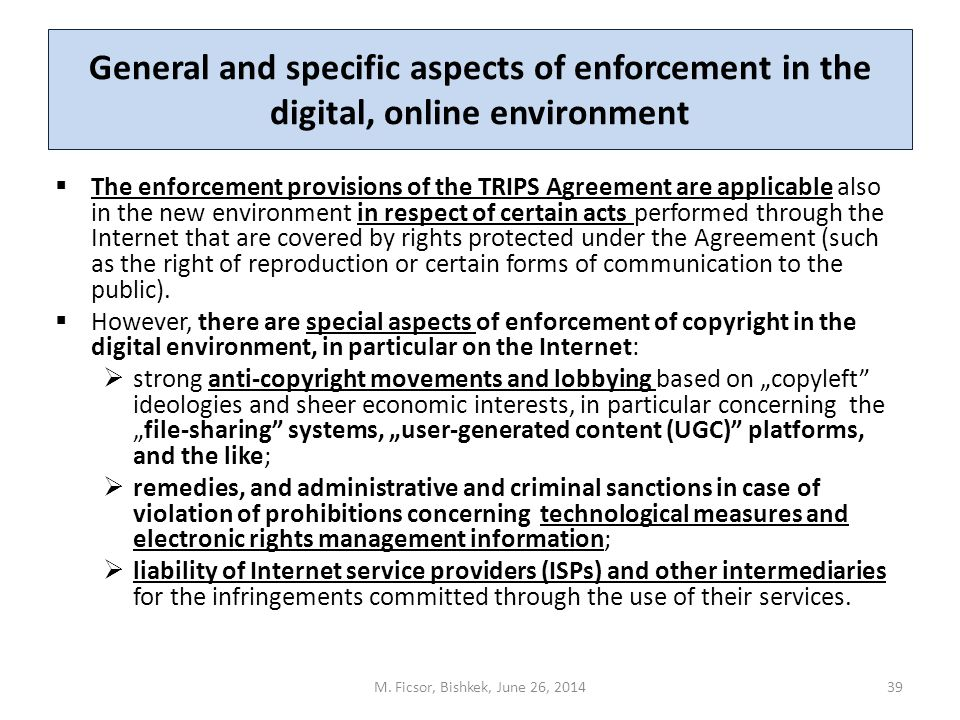 General and specific aspects of enforcement in the digital, online environment  The enforcement provisions of the TRIPS Agreement are applicable also in the new environment in respect of certain acts performed through the Internet that are covered by rights protected under the Agreement (such as the right of reproduction or certain forms of communication to the public).