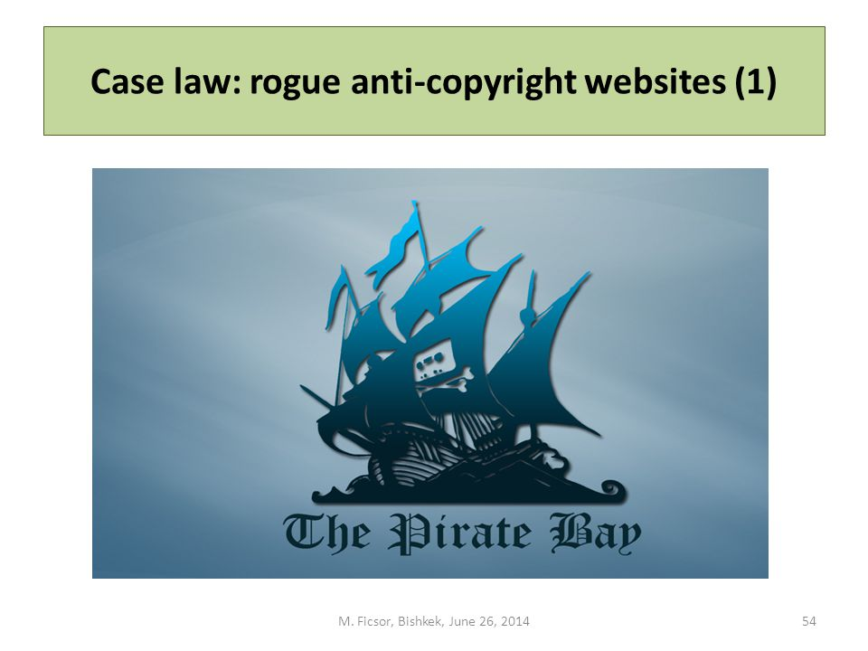 Case law: rogue anti-copyright websites (1) M. Ficsor, Bishkek, June 26, 201454