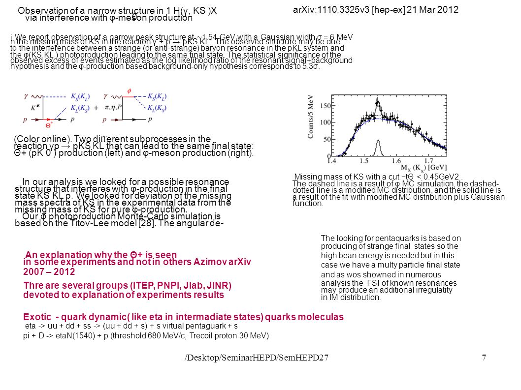 /Desktop/SeminarHEPD/SemHEPD277 arXiv:1110.3325v3 [hep-ex] 21 Mar 2012 Observation of a narrow structure in 1 H(γ, KS )X 0 via interference with φ-meson production We report observation of a narrow peak structure at ∼ 1.54 GeV with a Gaussian width σ = 6 MeV i n the missing mass of KS in the reaction γ + p → pKS KL.