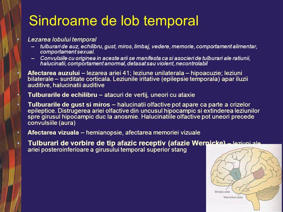 Sindroame de lob temporal Tulburari de memorie –Tulburarile memoriei recente – leziuni hipocampice inferioare bilaterale.