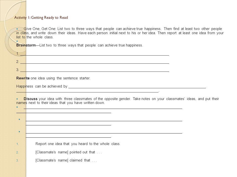 Post-reading/Activity 12: Summarizing and Responding Summary: