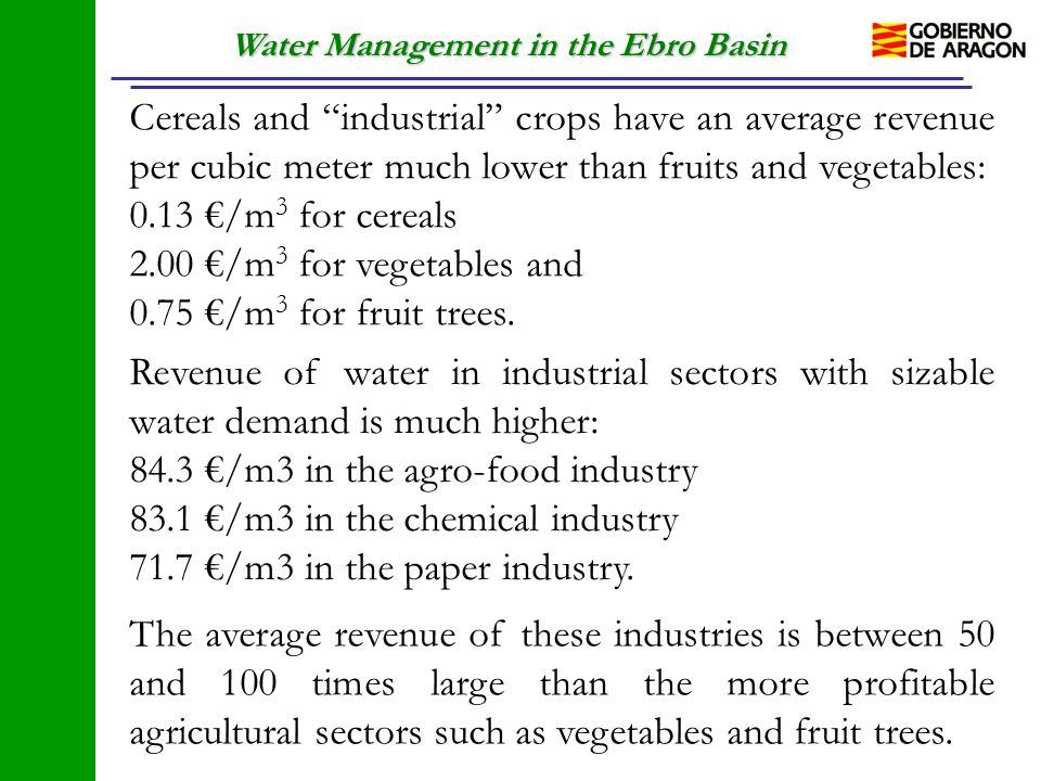 "Water Management in the Ebro Basin Cereals and ""industrial"" crops have an average revenue per cubic meter much lower than fruits and vegetables: 0.13"