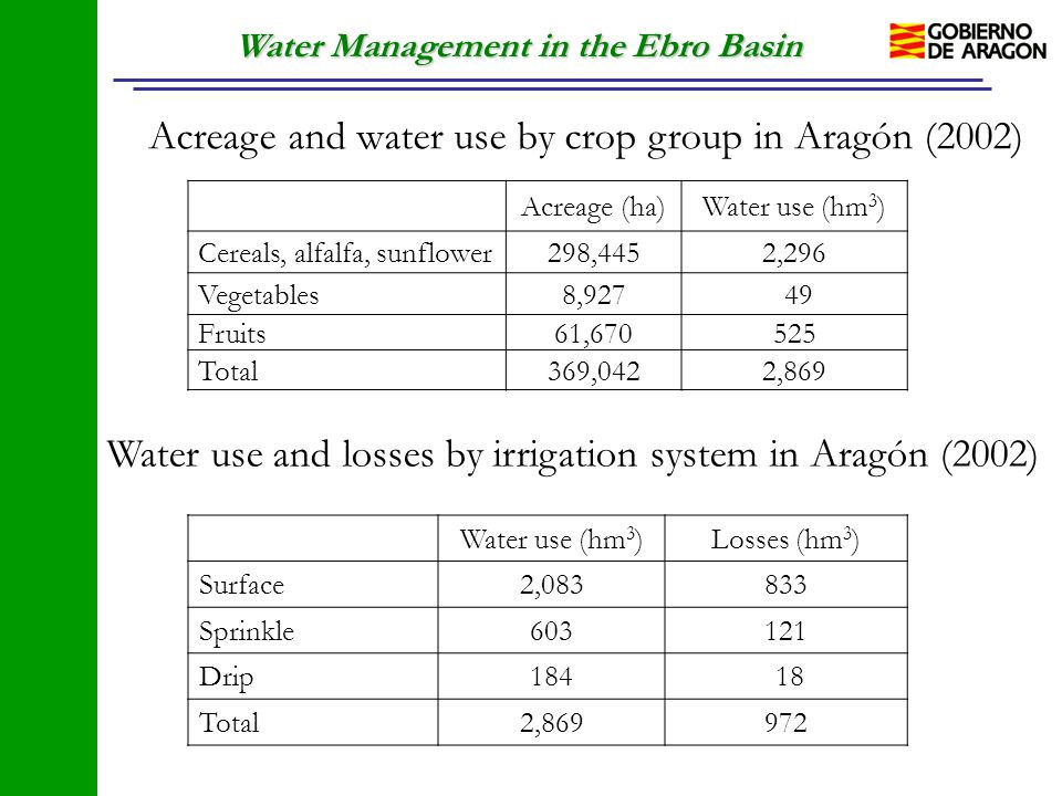 Water Management in the Ebro Basin Acreage and water use by crop group in Aragón (2002) Acreage (ha)Water use (hm 3 ) Cereals, alfalfa, sunflower298,4