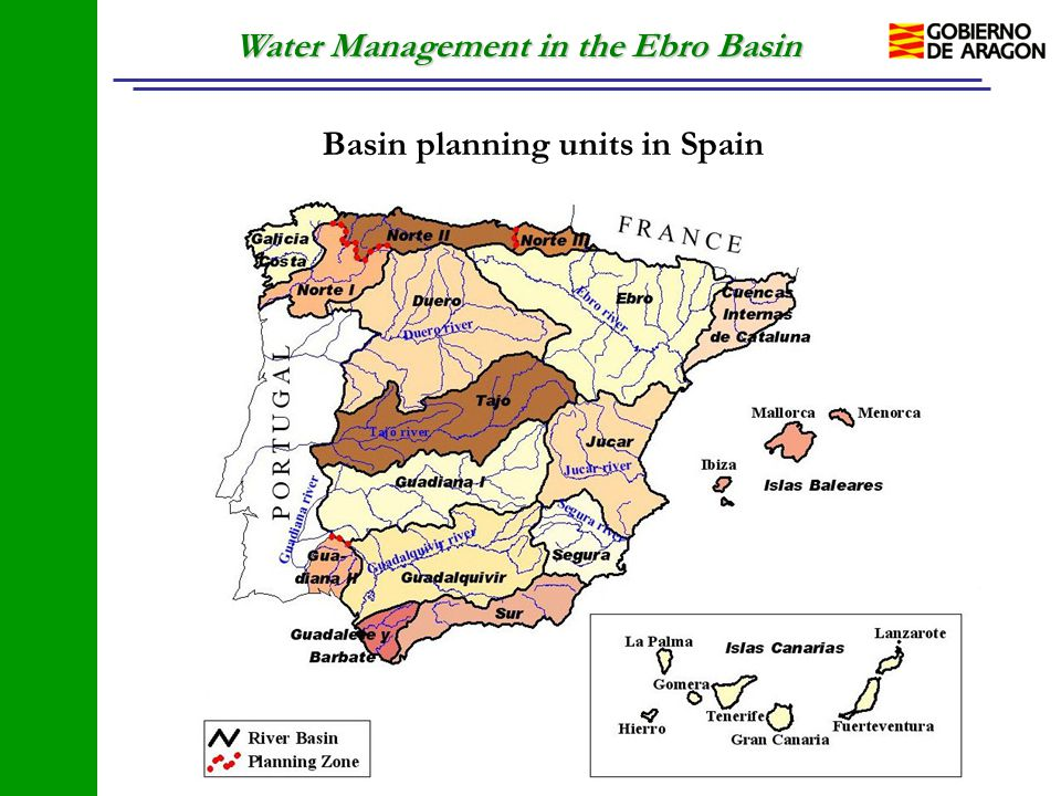Water Management in the Ebro Basin Basin planning units in Spain