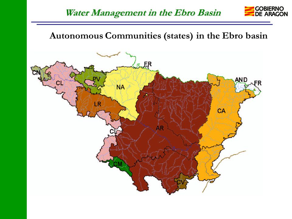 Water Management in the Ebro Basin Autonomous Communities (states) in the Ebro basin