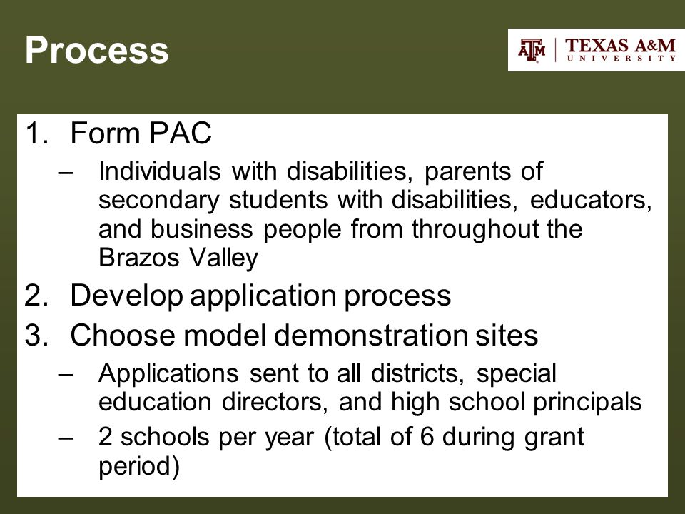 Process 1.Form PAC –Individuals with disabilities, parents of secondary students with disabilities, educators, and business people from throughout the Brazos Valley 2.Develop application process 3.Choose model demonstration sites –Applications sent to all districts, special education directors, and high school principals –2 schools per year (total of 6 during grant period)
