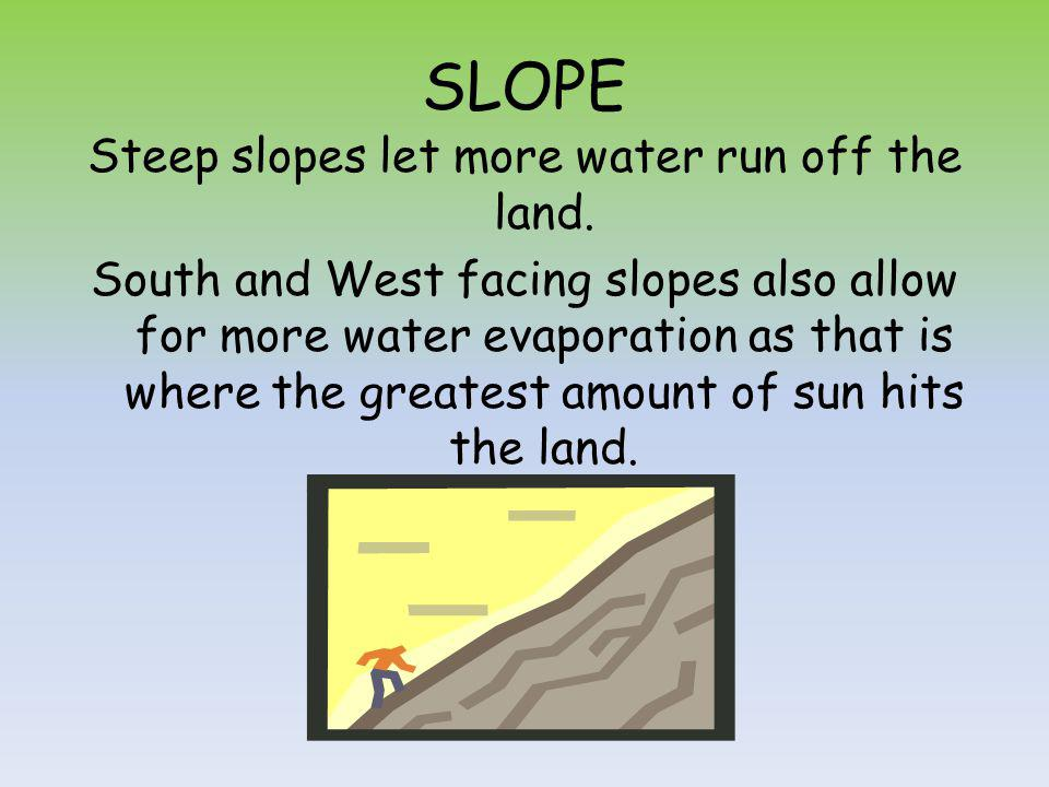 SLOPE Steep slopes let more water run off the land.