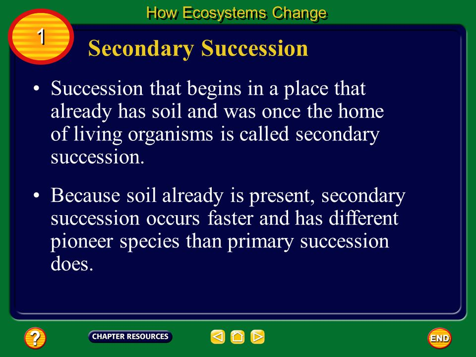 Succession that begins in a place that already has soil and was once the home of living organisms is called secondary succession.