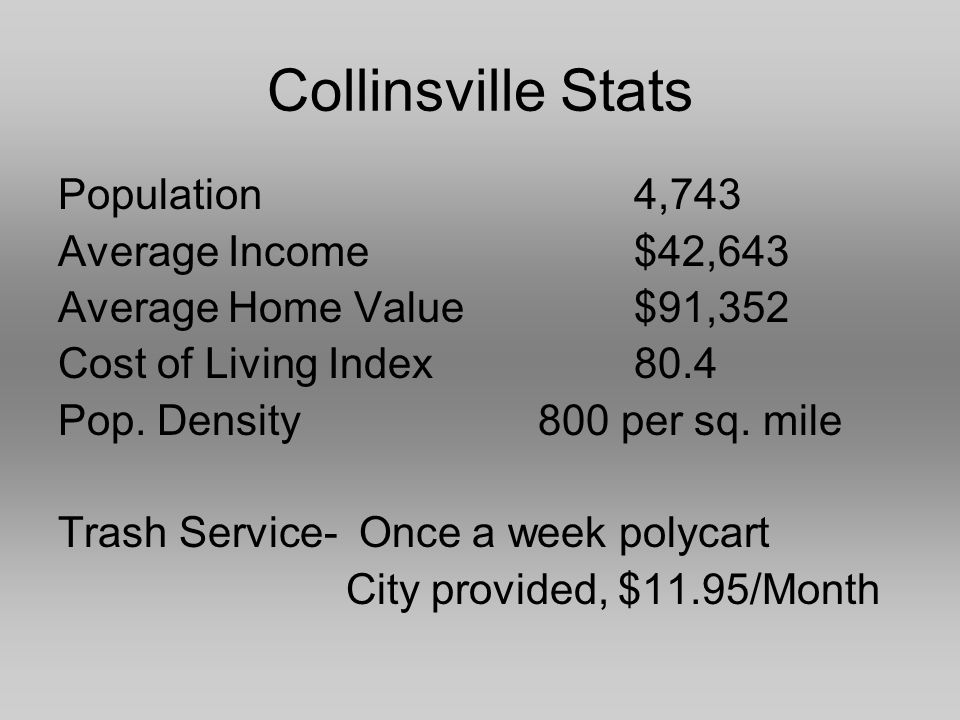Collinsville Stats Population4,743 Average Income$42,643 Average Home Value$91,352 Cost of Living Index80.4 Pop.