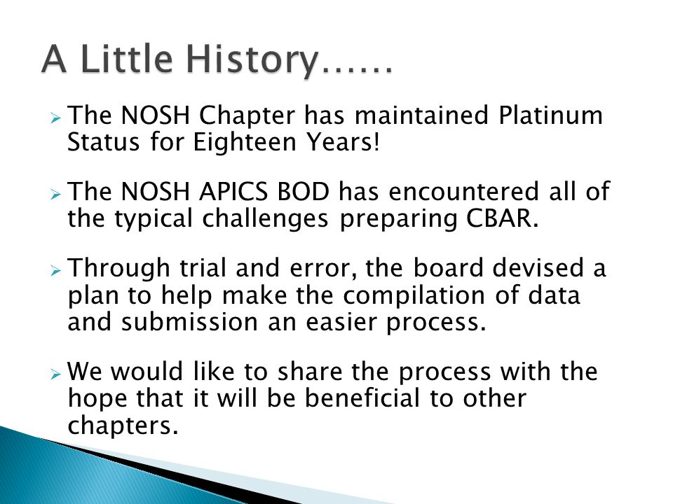  The NOSH Chapter has maintained Platinum Status for Eighteen Years.
