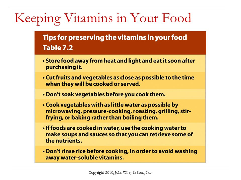 Copyright 2010, John Wiley & Sons, Inc. Keeping Vitamins in Your Food