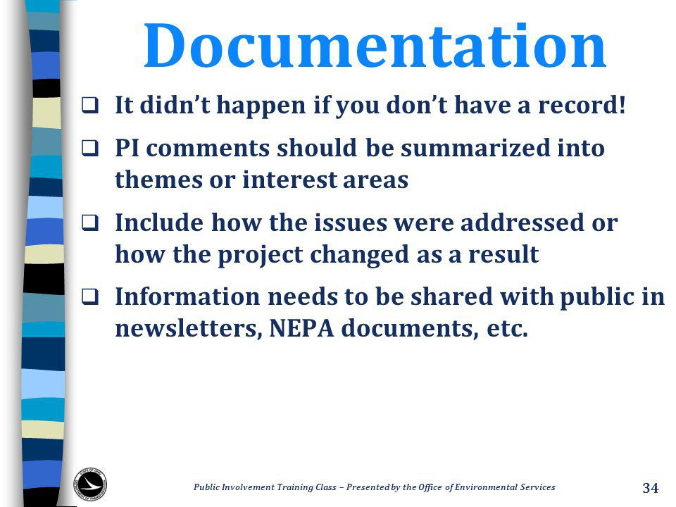 Documentation  It didn't happen if you don't have a record.