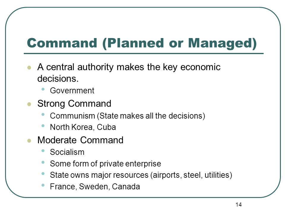 14 Command (Planned or Managed) A central authority makes the key economic decisions. Government Strong Command Communism (State makes all the decisio