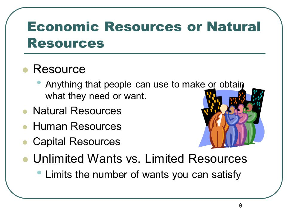9 Resource Anything that people can use to make or obtain what they need or want. Natural Resources Human Resources Capital Resources Unlimited Wants