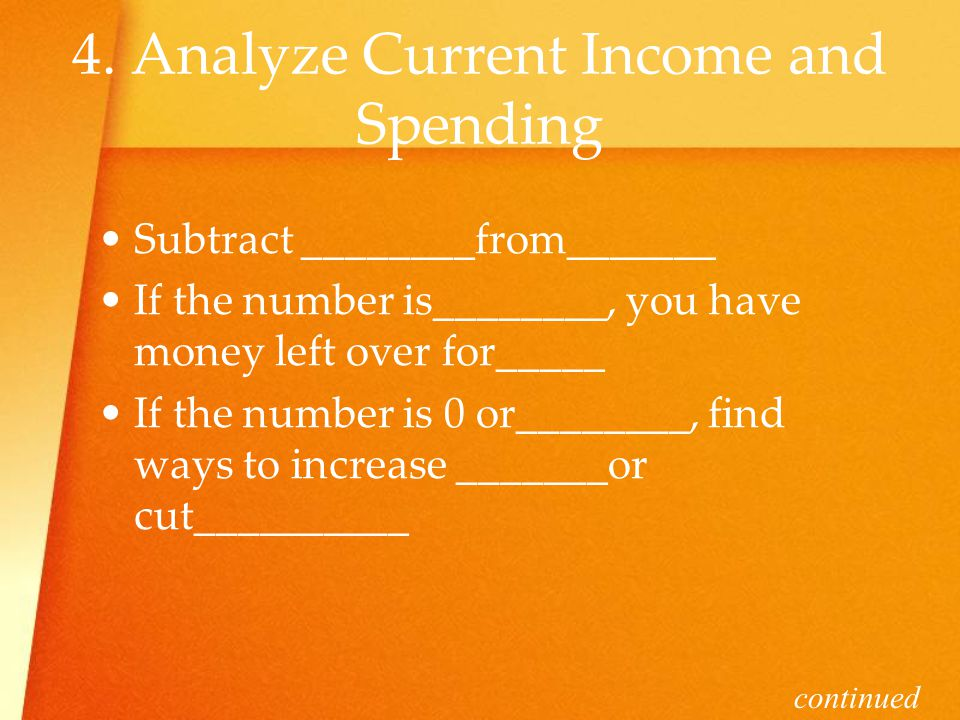 4. Analyze Current Income and Spending Subtract ________from_______ If the number is________, you have money left over for_____ If the number is 0 or_
