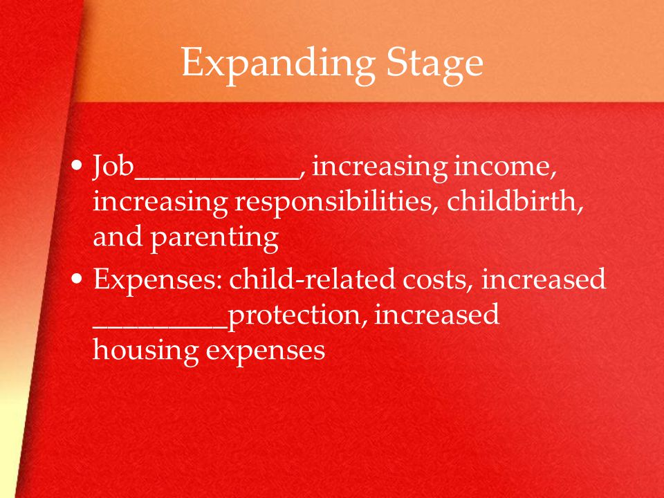 Expanding Stage Job___________, increasing income, increasing responsibilities, childbirth, and parenting Expenses: child-related costs, increased _________protection, increased housing expenses