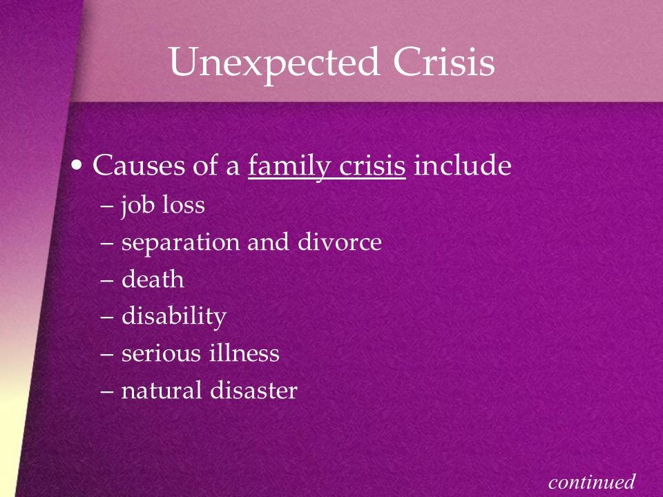 Unexpected Crisis Causes of a family crisis include –j–job loss –s–separation and divorce –d–death –d–disability –s–serious illness –n–natural disaster continued