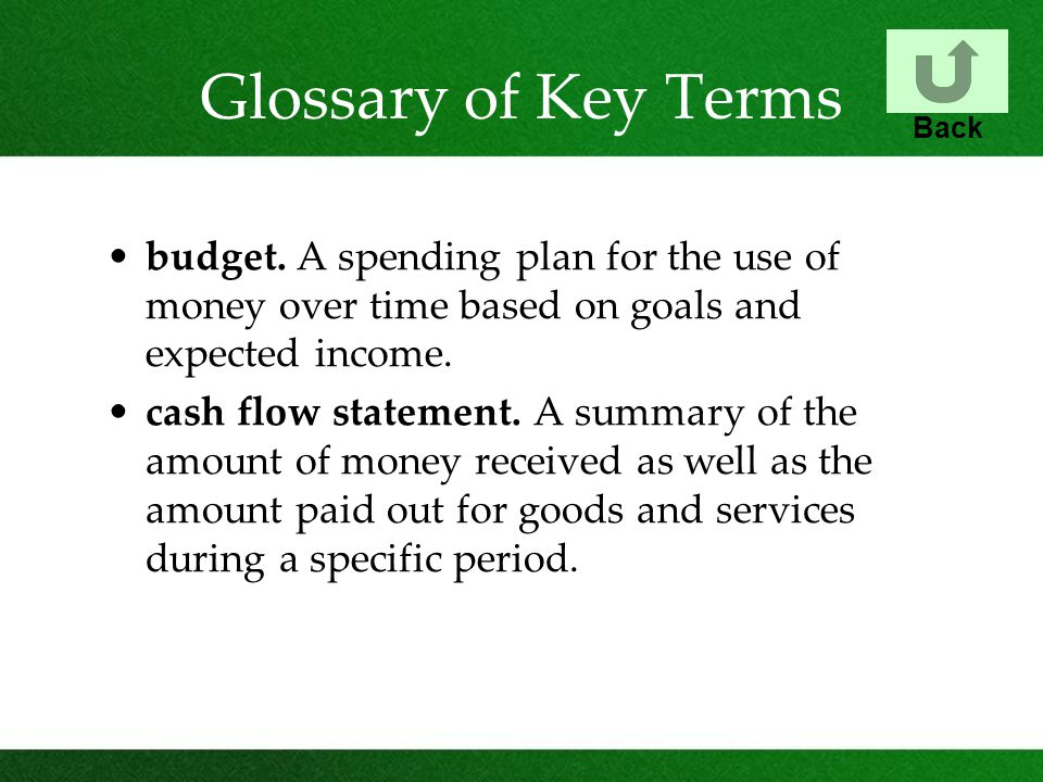 Glossary of Key Terms budget.