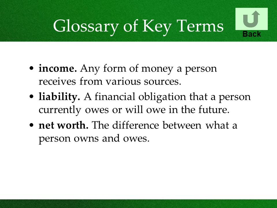 Glossary of Key Terms income. Any form of money a person receives from various sources.