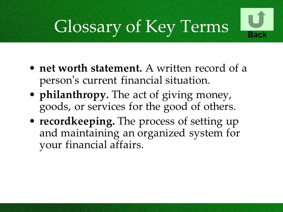 Glossary of Key Terms net worth statement.