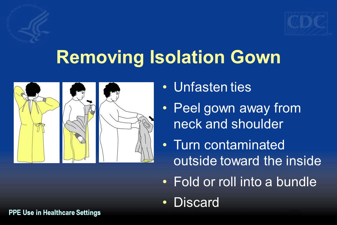 Removing Isolation Gown Unfasten ties Peel gown away from neck and shoulder Turn contaminated outside toward the inside Fold or roll into a bundle Dis