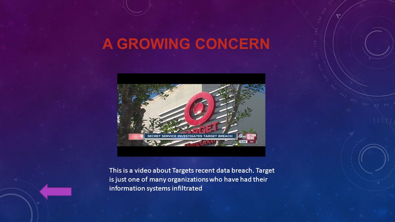 A GROWING CONCERN This is a video about Targets recent data breach.