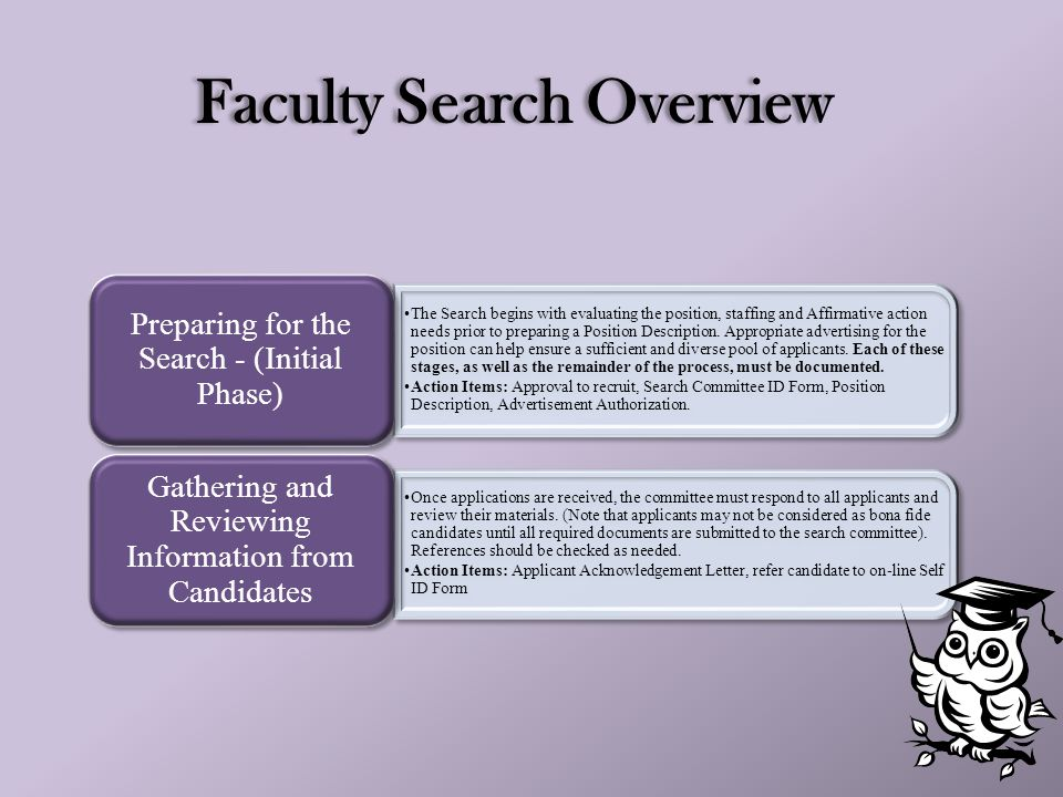 Faculty Search Overview 3 The Search begins with evaluating the position, staffing and Affirmative action needs prior to preparing a Position Description.
