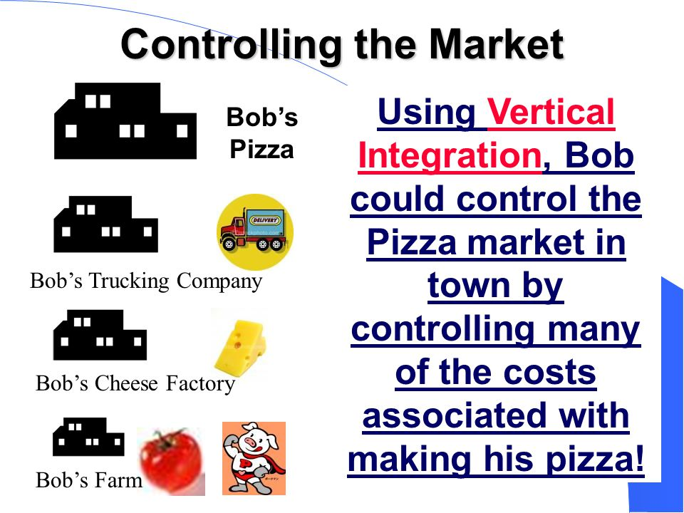 Controlling the Market Bob's Pizza Using Vertical Integration, Bob could control the Pizza market in town by controlling many of the costs associated