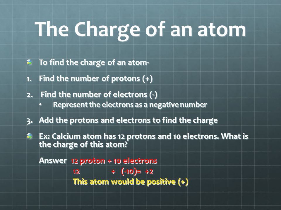 The Charge of an atom To find the charge of an atom- 1.Find the number of protons (+) 2. Find the number of electrons (-) Represent the electrons as a