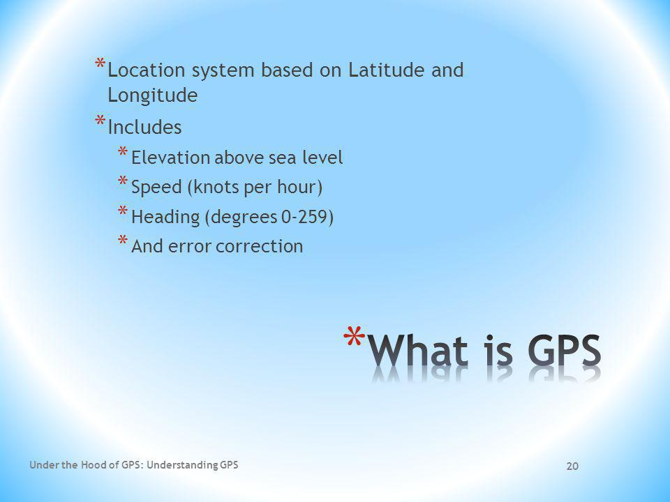 Under the Hood of GPS: Understanding GPS 20 * Location system based on Latitude and Longitude * Includes * Elevation above sea level * Speed (knots pe