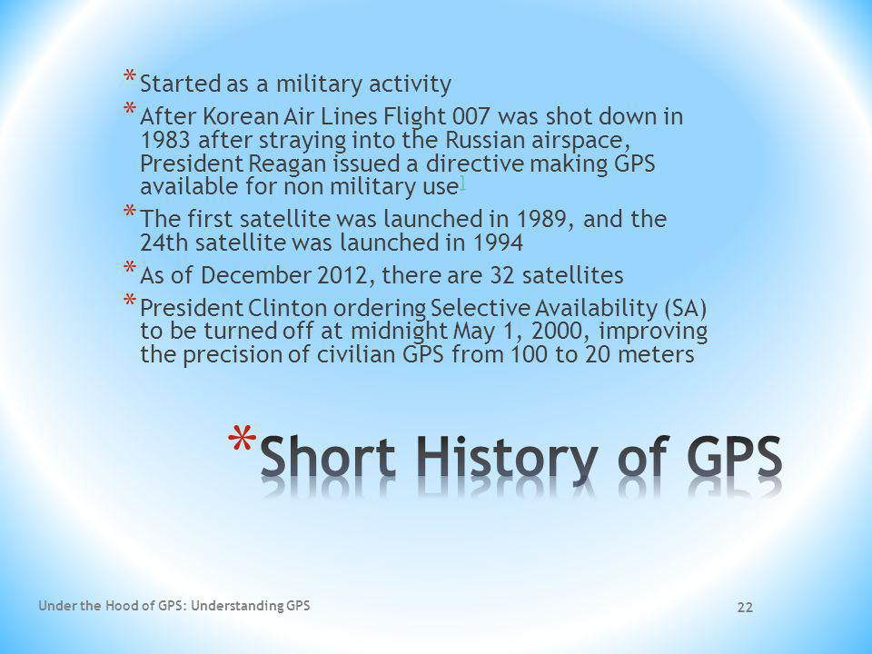 22 * Started as a military activity * After Korean Air Lines Flight 007 was shot down in 1983 after straying into the Russian airspace, President Reag