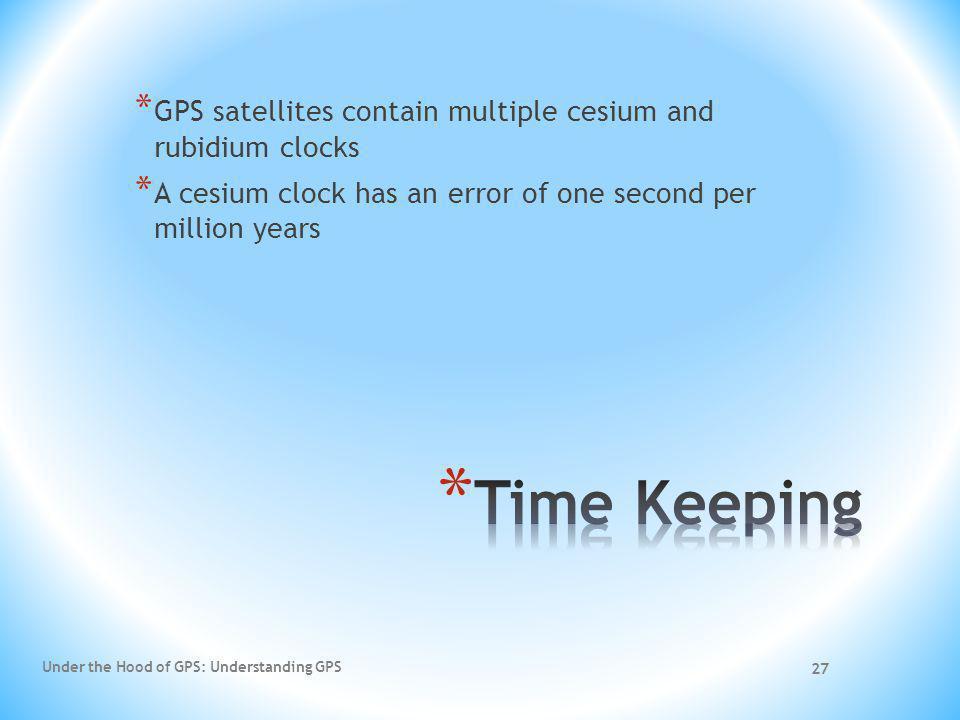 27 * GPS satellites contain multiple cesium and rubidium clocks * A cesium clock has an error of one second per million years Under the Hood of GPS: U