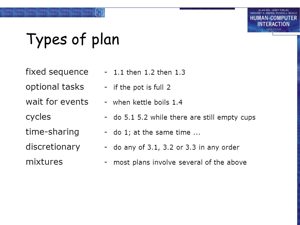 Types of plan fixed sequence - 1.1 then 1.2 then 1.3 optional tasks - if the pot is full 2 wait for events - when kettle boils 1.4 cycles - do 5.1 5.2 while there are still empty cups time-sharing - do 1; at the same time...