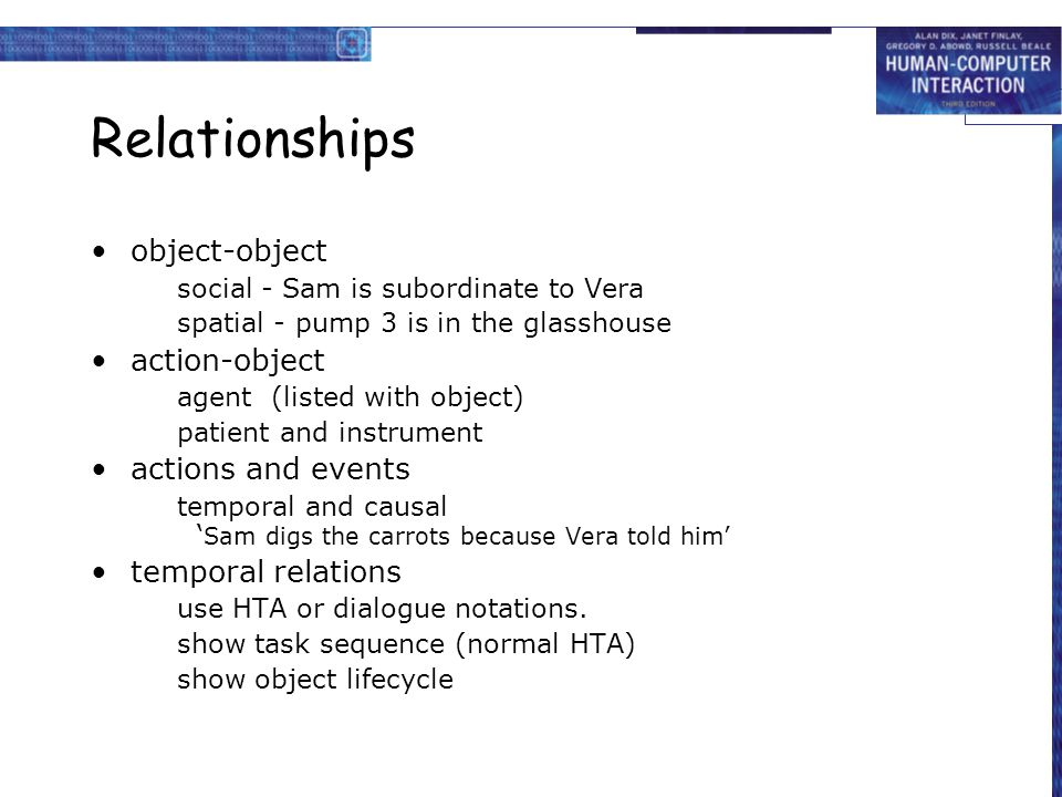 Relationships object-object social - Sam is subordinate to Vera spatial - pump 3 is in the glasshouse action-object agent (listed with object) patient and instrument actions and events temporal and causal ' Sam digs the carrots because Vera told him' temporal relations use HTA or dialogue notations.