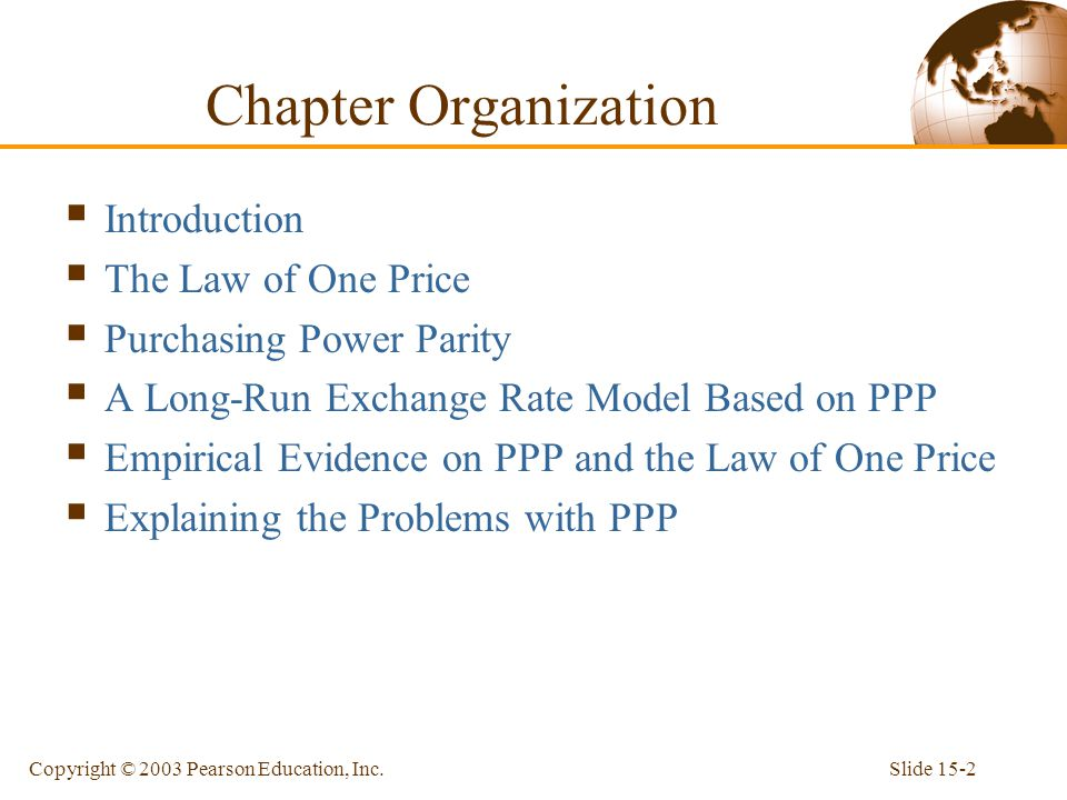 Slide 15-2Copyright © 2003 Pearson Education, Inc.  Introduction  The Law of One Price  Purchasing Power Parity  A Long-Run Exchange Rate Model Ba