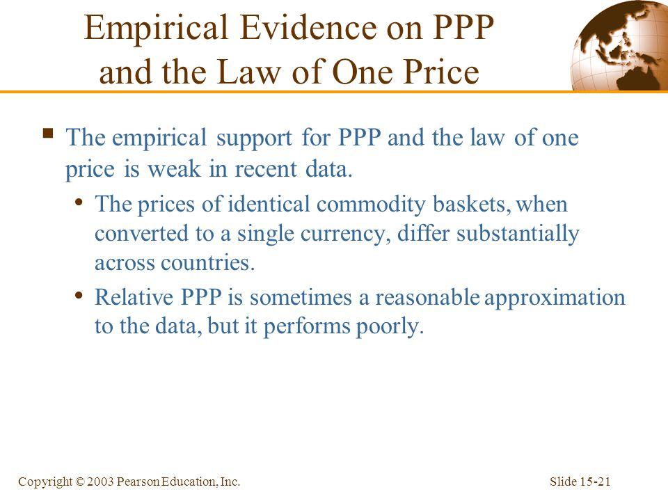 Slide 15-21Copyright © 2003 Pearson Education, Inc.  The empirical support for PPP and the law of one price is weak in recent data. The prices of ide