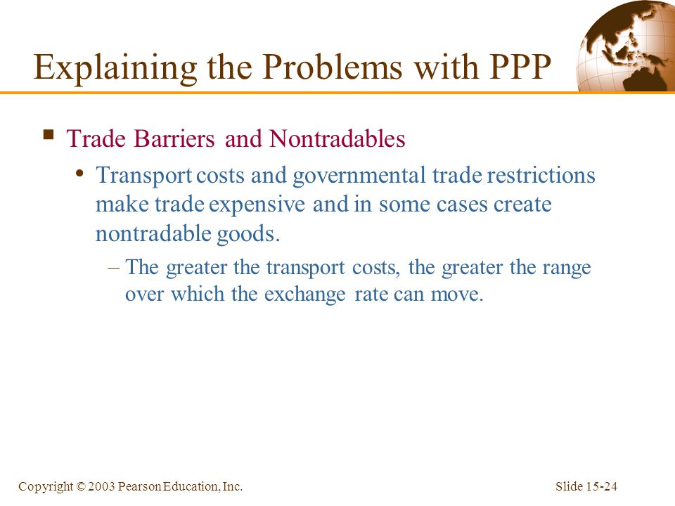 Slide 15-24Copyright © 2003 Pearson Education, Inc.  Trade Barriers and Nontradables Transport costs and governmental trade restrictions make trade e