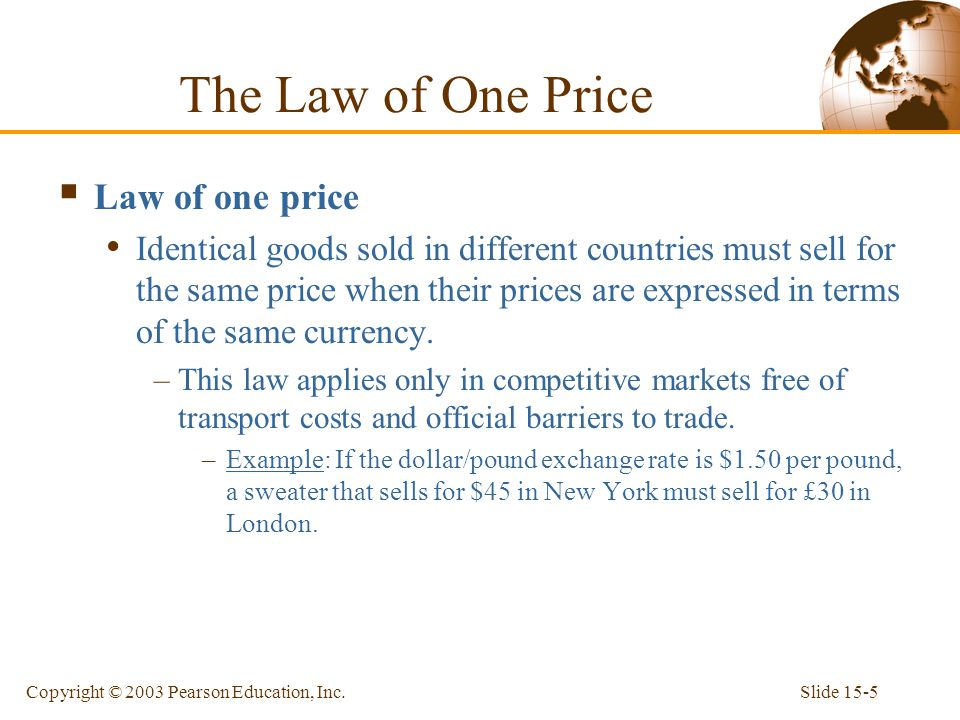 Slide 15-5Copyright © 2003 Pearson Education, Inc. The Law of One Price  Law of one price Identical goods sold in different countries must sell for t