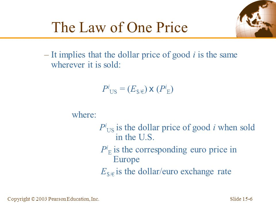 Slide 15-6Copyright © 2003 Pearson Education, Inc. –It implies that the dollar price of good i is the same wherever it is sold: P i US = (E $/€ ) x (P