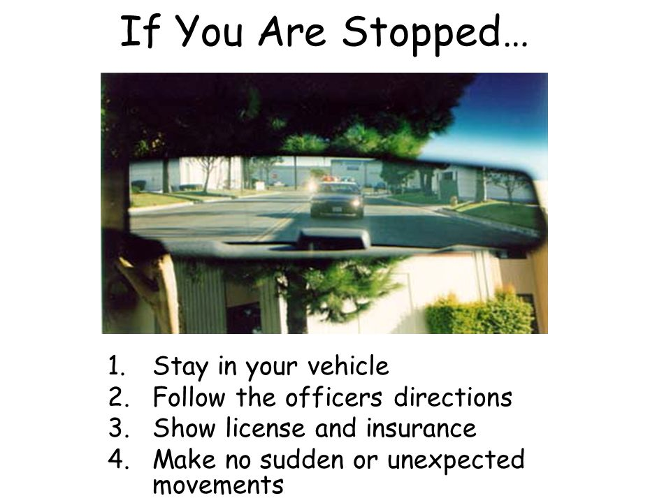 If You Are Stopped… 1.Stay in your vehicle 2.Follow the officers directions 3.Show license and insurance 4.Make no sudden or unexpected movements