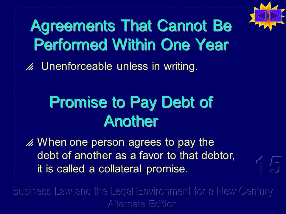 Agreements That Cannot Be Performed Within One Year  Unenforceable unless in writing.