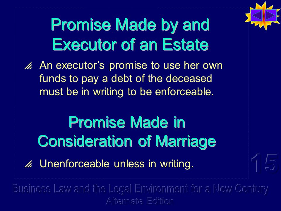 Promise Made by and Executor of an Estate  An executor's promise to use her own funds to pay a debt of the deceased must be in writing to be enforceable.