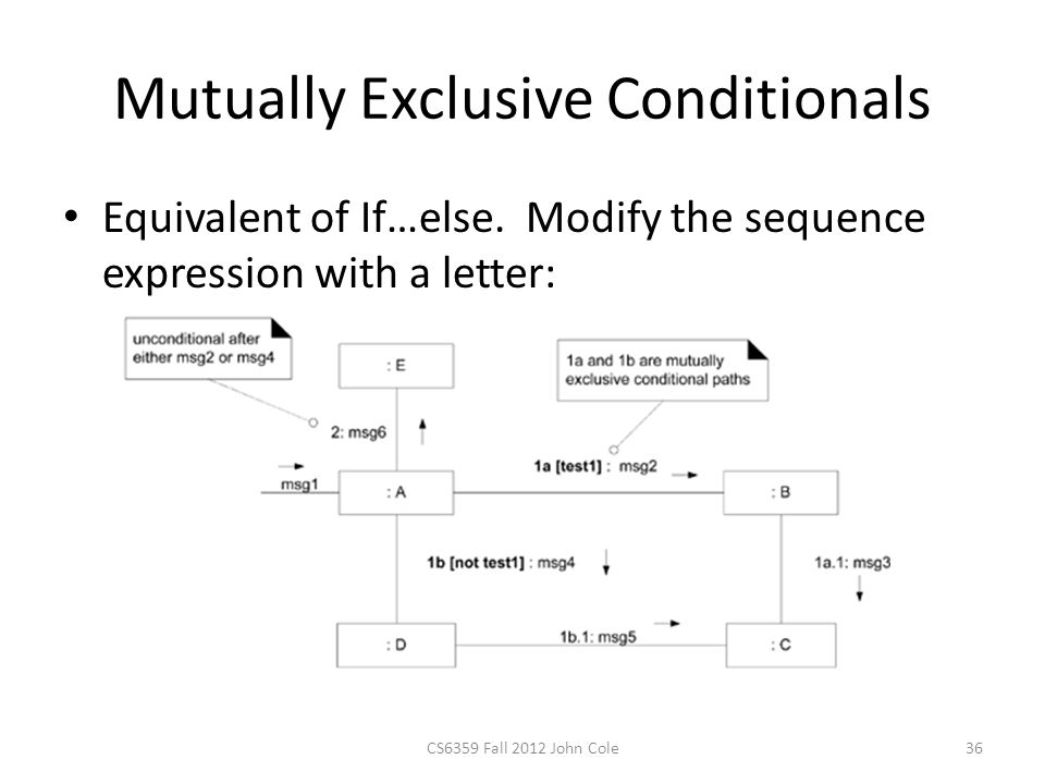 Mutually Exclusive Conditionals Equivalent of If…else. Modify the sequence expression with a letter: CS6359 Fall 2012 John Cole36