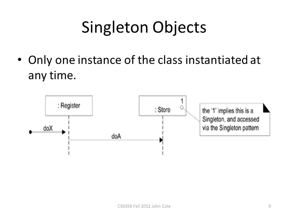 Singleton Objects Only one instance of the class instantiated at any time. CS6359 Fall 2012 John Cole9