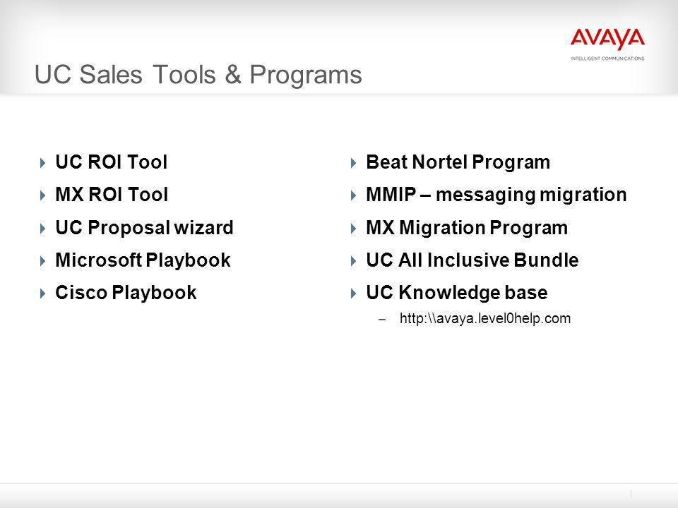 UC Sales Tools & Programs  UC ROI Tool  MX ROI Tool  UC Proposal wizard  Microsoft Playbook  Cisco Playbook  Beat Nortel Program  MMIP – messag