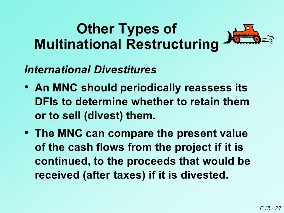 C15 - 27 International Divestitures An MNC should periodically reassess its DFIs to determine whether to retain them or to sell (divest) them.