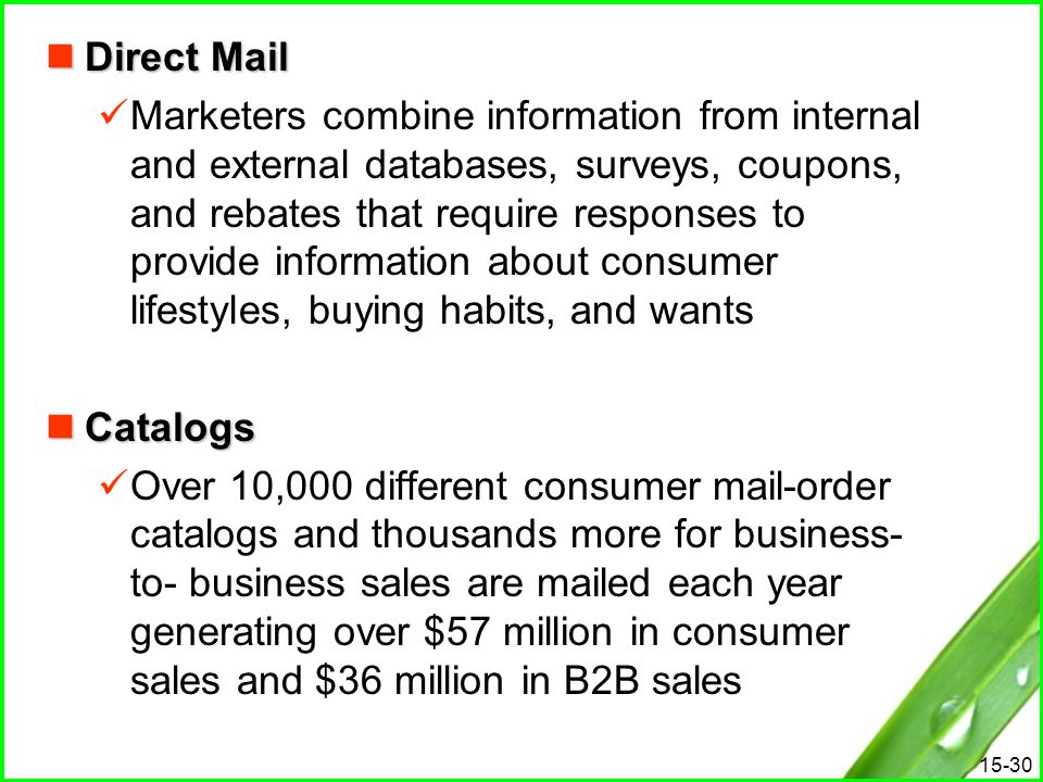15-30 Direct Mail Direct Mail Marketers combine information from internal and external databases, surveys, coupons, and rebates that require responses