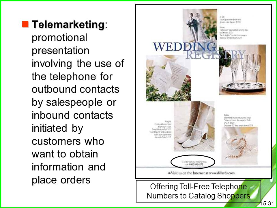 15-31 Telemarketing Telemarketing: promotional presentation involving the use of the telephone for outbound contacts by salespeople or inbound contact