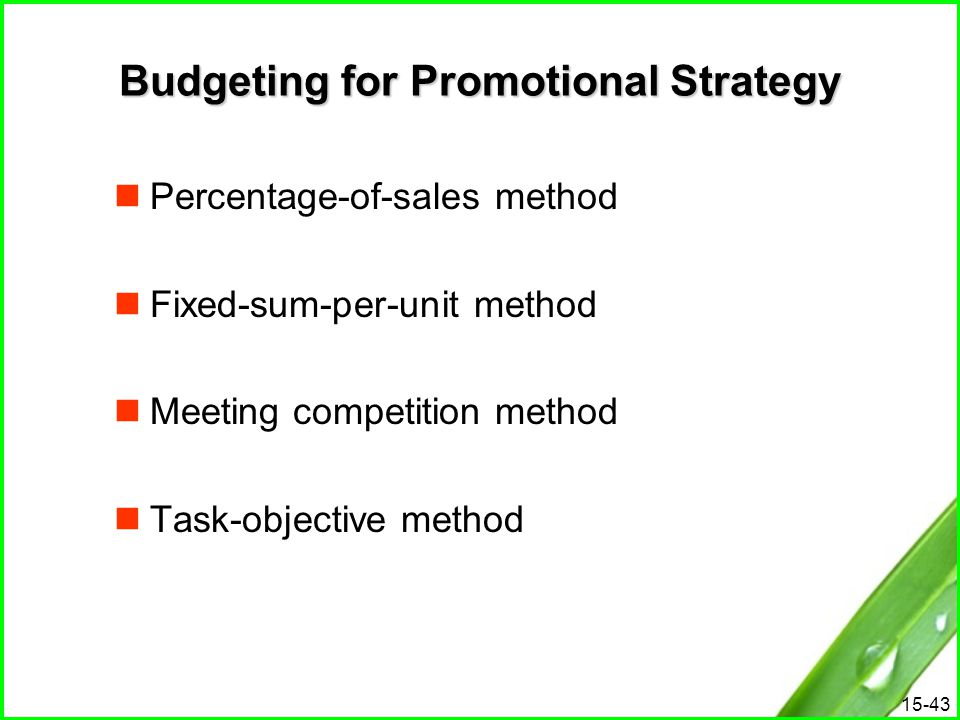 15-43 Budgeting for Promotional Strategy Percentage-of-sales method Fixed-sum-per-unit method Meeting competition method Task-objective method